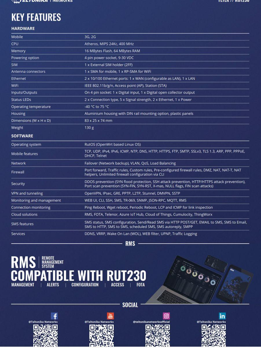 Các tính năng nổi bật của Teltonika RUT230 WiFi Router 3G