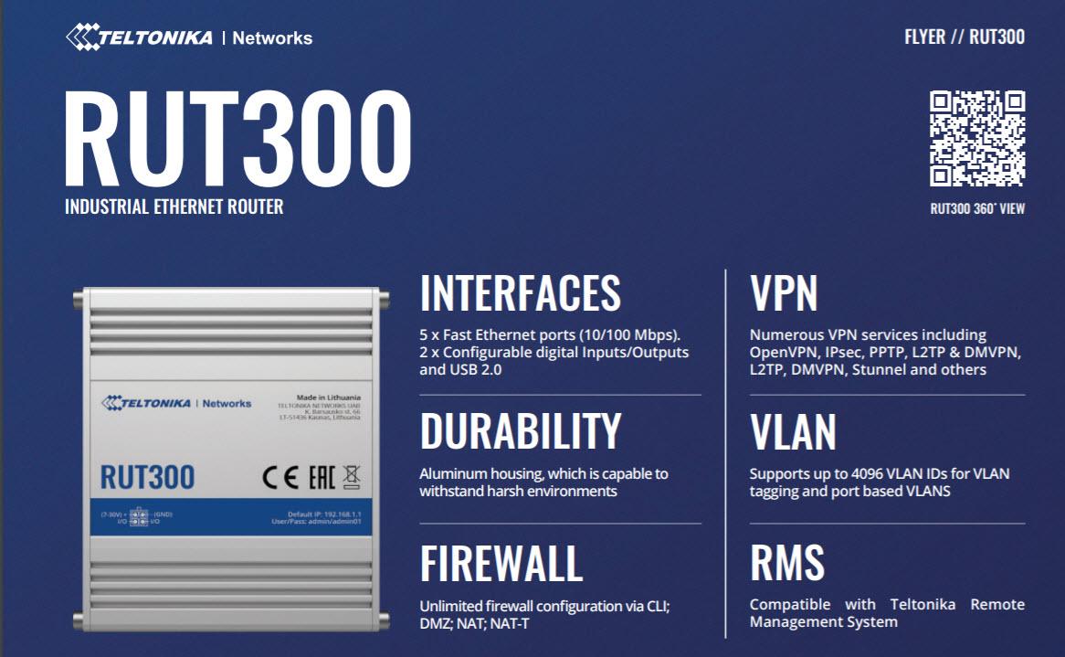 Teltonika RUT300 - Router 4G công nghiệp, Việt Tuấn phân phối chính hãng, giá tốt nhất